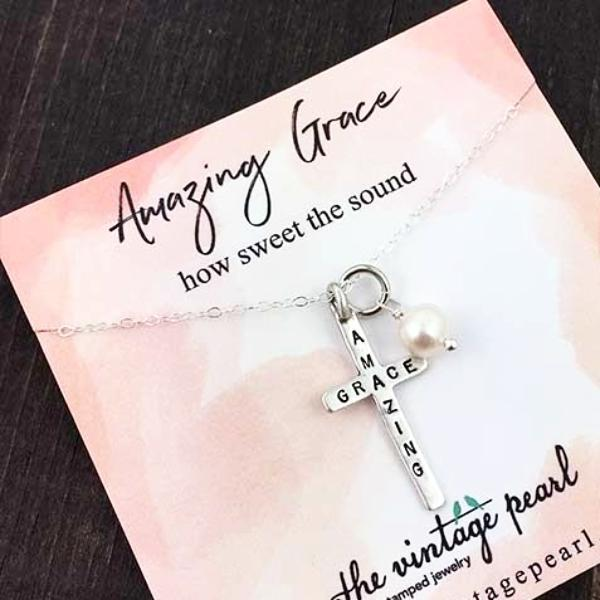 8deb3784d3dd9f Amazing Grace Cross Necklace | The Vintage Pearl · Amazing Grace Sterling  Silver ...