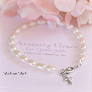 Amazing Grace Freshwater Pearl Children's Bracelet with Cross Charm | 6 1/2""