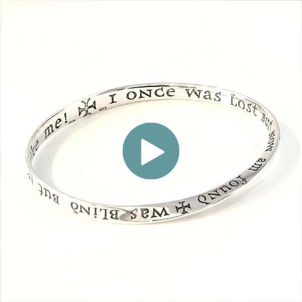 Sterling Silver Christian Bracelet | Amazing Grace | Mobius Bangle Bracelet