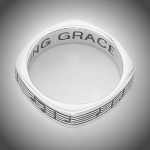 Sterling Silver Men's Amazing Grace Music Notes Ring