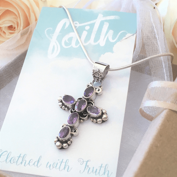Amethyst and Sterling Silver Cross Pendant Necklace