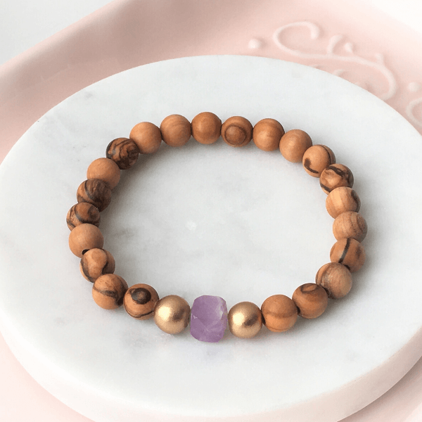 Holy Land Olive Wood Beaded Bracelet | Stacking Stones