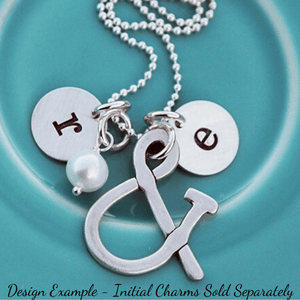 Ampersand & Freshwater Pearl Charm Necklace | Initials Available a-la-carte