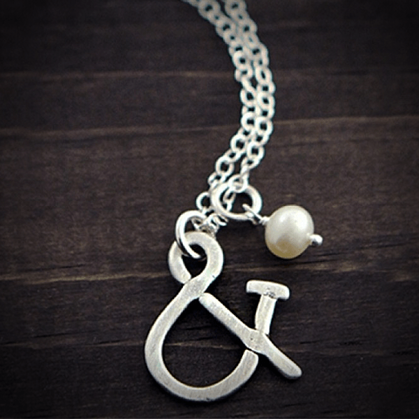 Ampersand & Freshwater Pearl Charm Necklace | Custom Initials Available a-la-carte