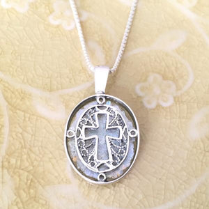 Sterling Silver Ancient Roman Glass Filigree Cross Necklace