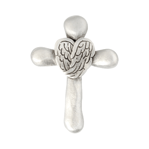 Angel Wings & Cross Fine Pewter Pocket Token