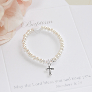 Crystal & Pearl Children's Baptism Bracelet with Silver Cross Charm