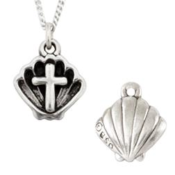 Sterling Silver Baptism Shell and Cross Necklace