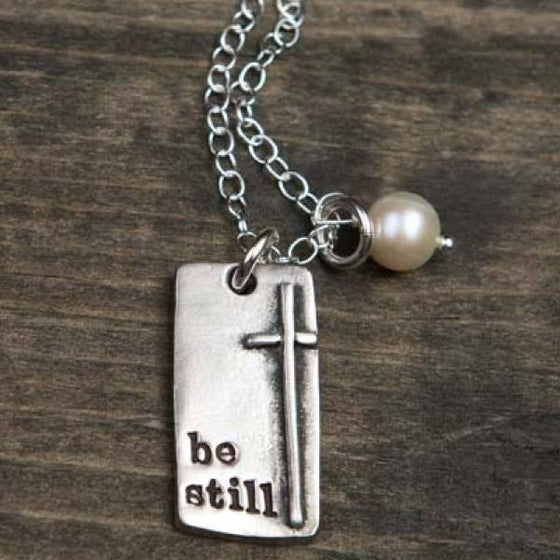 The Vintage Pearl Hand-Stamped Pewter Necklace | Be Still | Cross