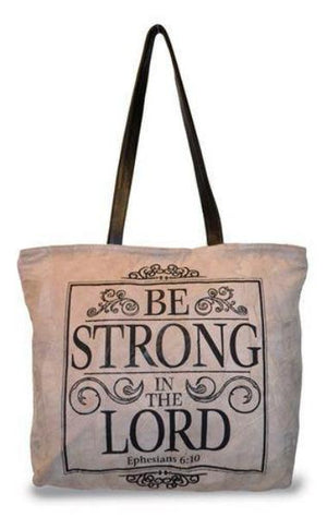 Suede Scripture Verse Tote Bag | Be Strong in the Lord | Ephesians 6:10