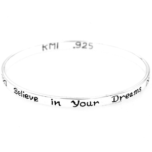 Believe in Your Dreams Sterling Silver Bangle Bracelet