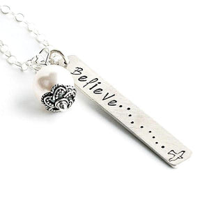 Sterling Silver and Pearl Hand-Stamped Necklace | Believe