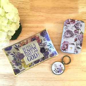 Jewelry Trinket Tray & Coordinating Keyring | Be Still and Know I am God | Psalm 46:10