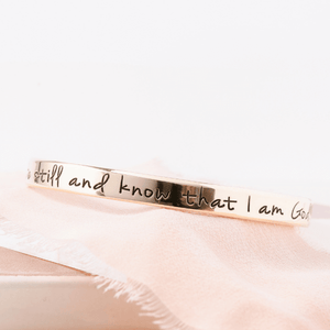 Be Still and Know that I am God Hand-Stamped Gold Brass Cuff Bracelet | Psalm 46:10