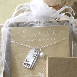 Fine Pewter Be Still Cross Necklace | The Vintage Pearl