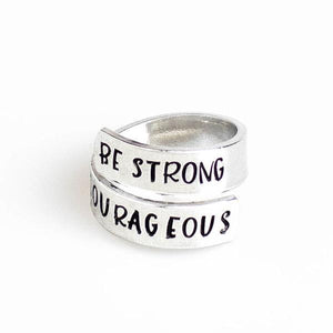 Personalized Handstamped Sterling Silver Wrap Ring