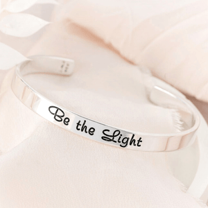 Be the Light Sterling Silver Engraved Cuff Bracelet | Matthew 5:14-16