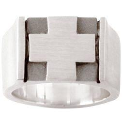 Sterling Silver Men's Christian Ring | Raised Square Cross Emblem