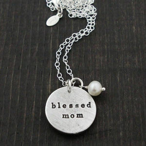 Blessed Mom Double Sided Fine Pewter Necklace | The Vintage Pearl