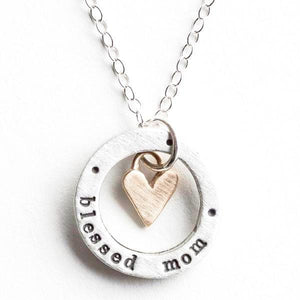 Blessed Mom Bronze Heart Charm Fine Pewter Necklace | The Vintage Pearl