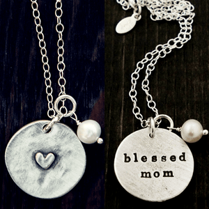 The Vintage Pearl Double Sided Secret Message Necklace | Blessed Mom