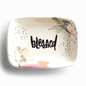 Jewelry Trinket Dish | Blessed | Glazed Ceramic