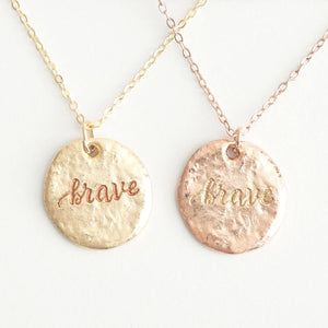 Brave (In) Courage Friendship Necklace Set | Wear One Share One | 1 John 3:16