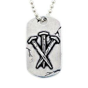 Fine Pewter Dog Tag Necklace | Isaiah 53:5 | Nails