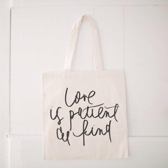 Natural Cotton Quote Tote | Love is Patient & Kind