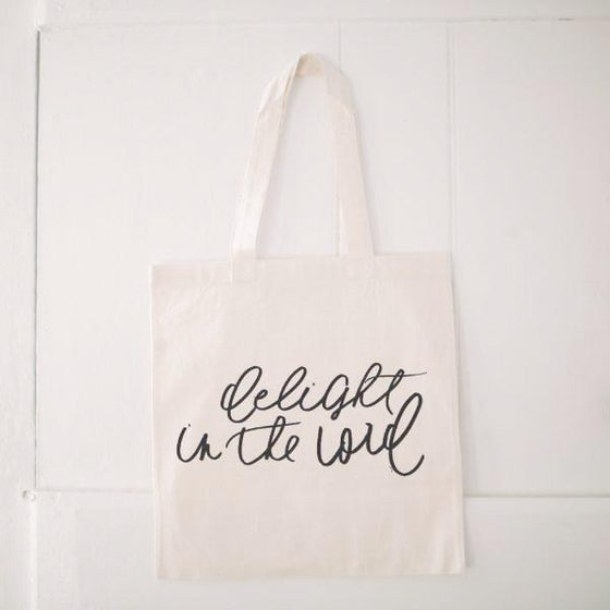 Natural Cotton Quote Tote | Delight in the Lord