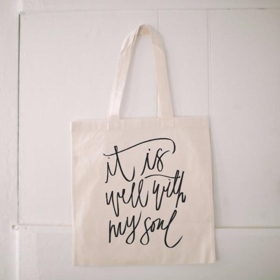 Natural Cotton Quote Tote | It is Well with My Soul