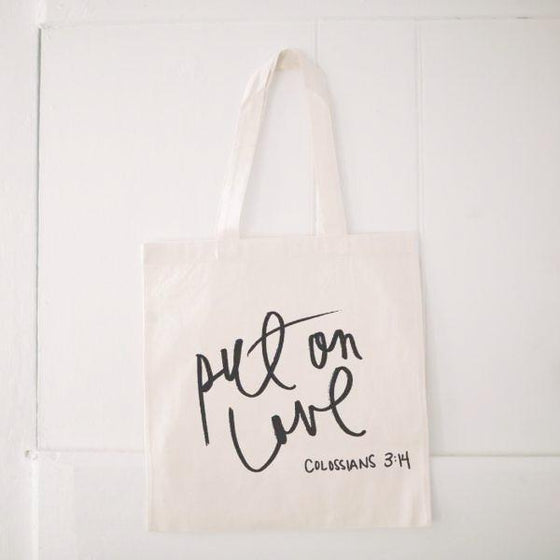 Natural Cotton Quote Tote | Put on Love | Colossians 3:14