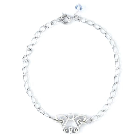 Sterling Silver Child's Bracelet | Sapphire Crystal Angel | 6 1/2""