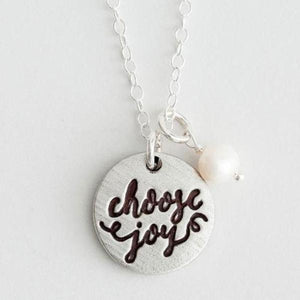 Choose Joy Calligraphy Fine Pewter Necklace | The Vintage Pearl