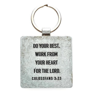 Commit to the Lord Scripture Keychain | Proverbs 16:3 | Colossians 3:23