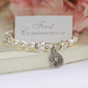 Freshwater Pearl and Swarovski Crystal First Communion Bracelet | First Communion Medal | 6""