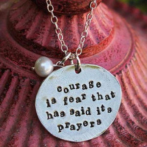 The Vintage Pearl Hand-Stamped Necklace | Courage is Fear That Has Said its Prayers