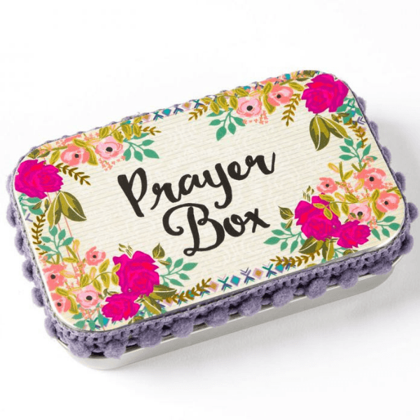 Natural Life Prayer Box | Cream with Pink Roses