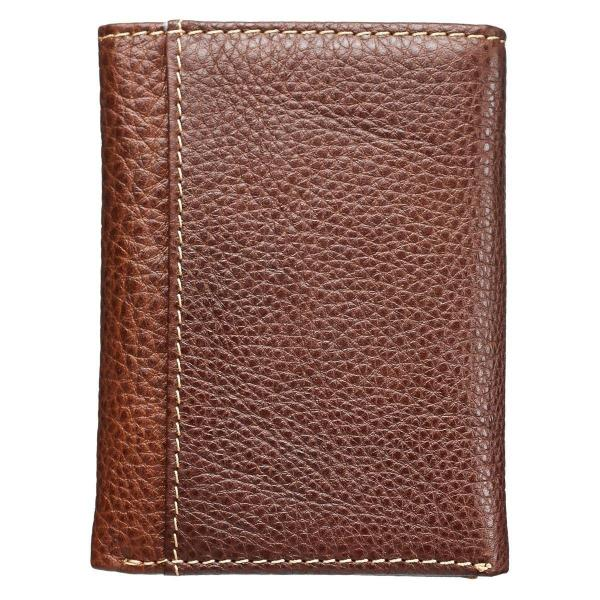 Brown Genuine Leather Men's Tri-Fold Wallet with Embossed Cross