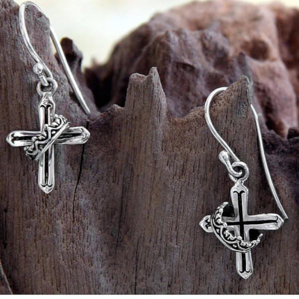 Handcrafted Sterling Silver Earrings | Cross and Crown