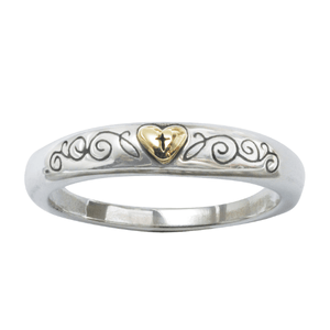 Sterling Silver and 14k Gold Ladies' Cross and Heart Ring