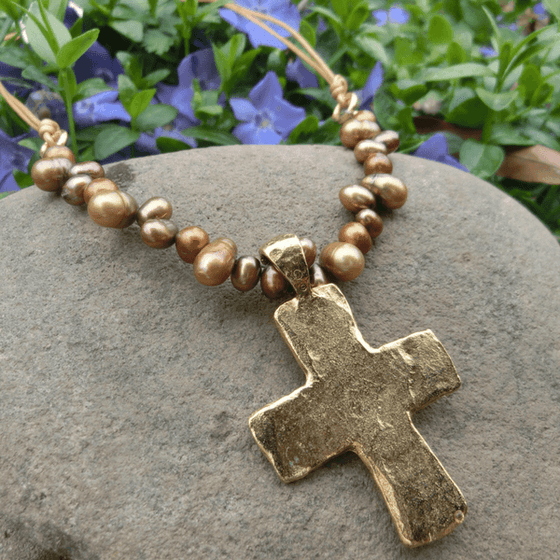 Freshwater Pearl and Gold Finished Fine Pewter Cross Necklace