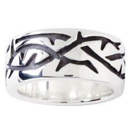 Sterling Silver Men's Christian Ring - Engraved Crown of Thorns