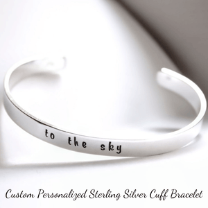 "5"" Petite Length Sterling Silver Hand-Stamped Personalized Cuff Bracelet 