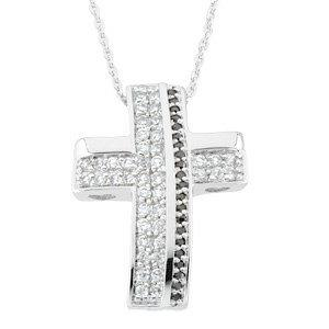 Sterling Silver CZ Cross Necklace Beauty from Ashes
