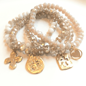 Crystal Bracelet Stack with Gold Cross Charms