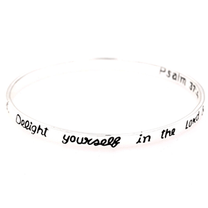 Delight Yourself in the Lord Sterling Silver Bangle Bracelet | Psalm 37:4