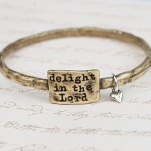 Fine Pewter Scripture Verse Bracelet | Delight in the Lord | Psalm 37:4