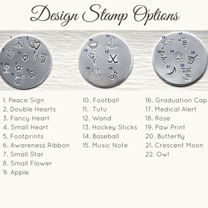 Design Stamps for Personalized Sterling Silver Cuff Bracelets