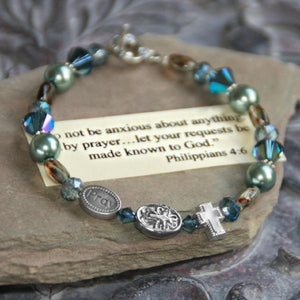 Swarovski Crystal and Pearl Scripture Verse Bracelet | Do Not Be Anxious | Philippians 4:6